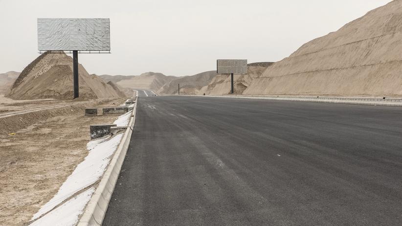 EU und China: Ein Bauabschnitt der Neuen Seitenstraße in China