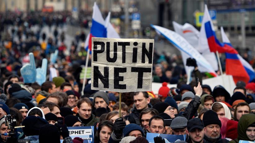Moskau: Für ein zensurfreies Internet protestierten in Russland Tausende Menschen.