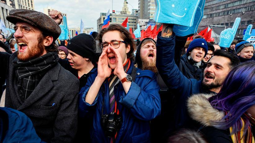 Russland: Bei einer Demonstration am 10. März gingen Tausende auf die Straße, um sich für die Freiheit des Internets einzusetzen.