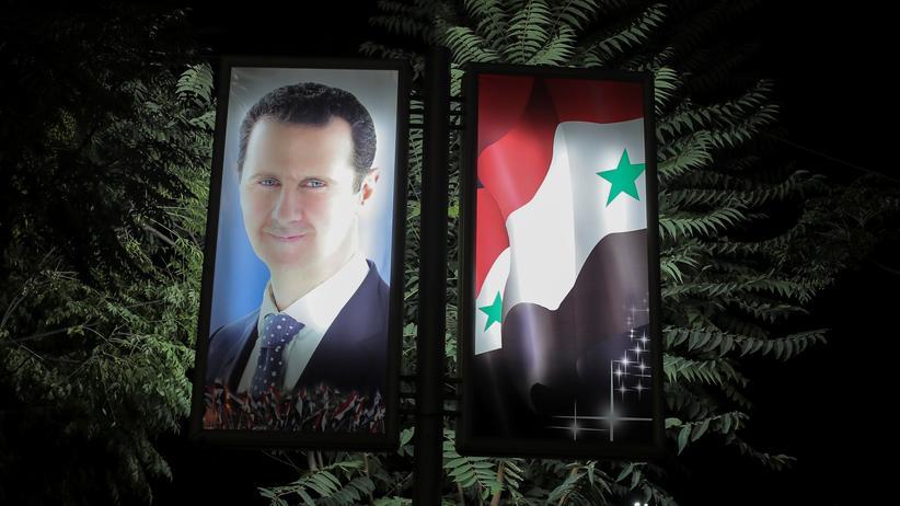Syrien: Ein Bild des syrischen Präsidenten Baschar al-Assad in Damaskus