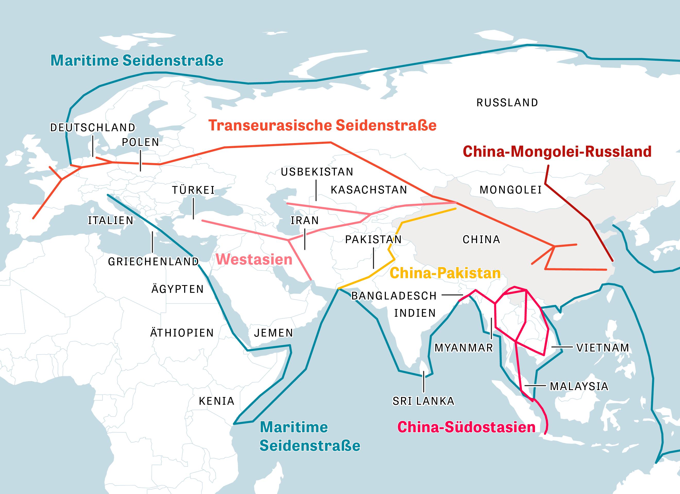 Die Grafik zeigt die geplanten Wirtschaftskorridore der chinesischen Belt-and-Road- und Seidenstraßen-Initiative.