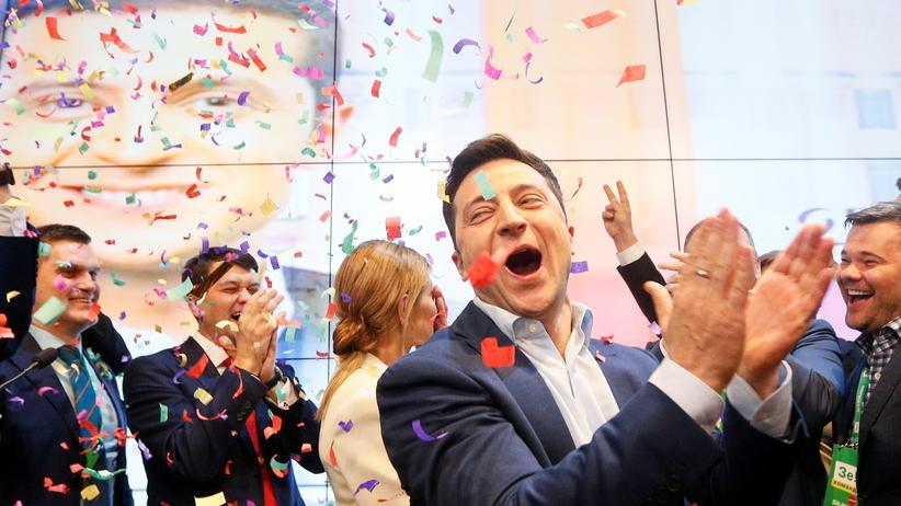 Ukraine: Wolodymyr Selenskyj feiert seinen Wahlsieg.
