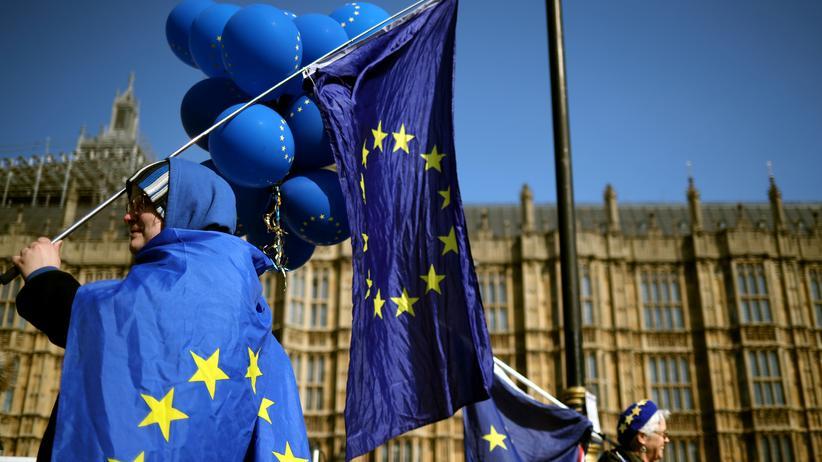 Brexit: Brexit-Gegner demonstrieren vor dem Parlament in London gegen einen EU-Austritt ihres Landes.