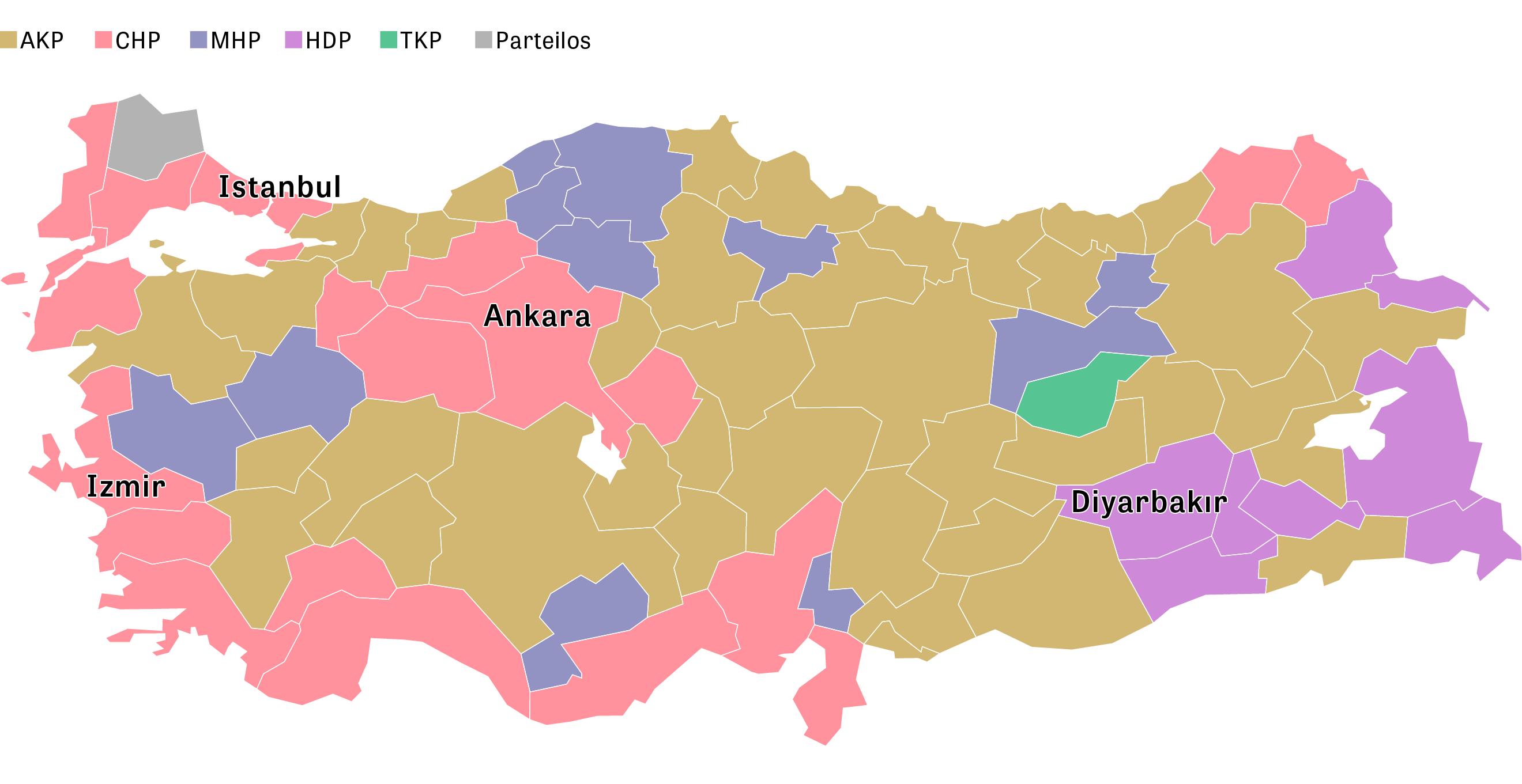 Türkei: Nach Jahren an der Macht musste die Regierungspartei AKP in Istanbul und Ankara das Bürgermeisteramt an die Oppositionspartei CHP abgeben.