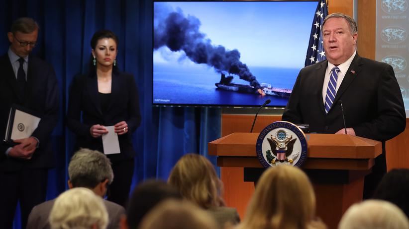 Öltanker: US-Außenminister Mike Pompeo äußerte sich in Washington zu den Vorfällen im Golf von Oman.