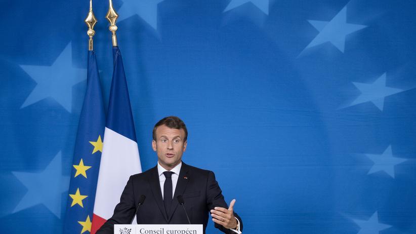 Juncker-Nachfolge: Frankreichs Präsident Emmanuel Macron am Rande des EU-Gipfels in Brüssel