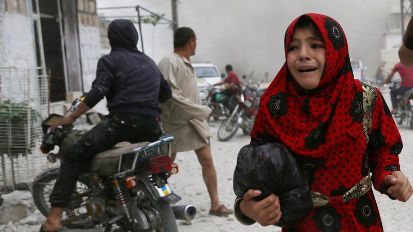 Syrien: Während eines Luftangriffs auf die Stadt Kfar Ruma in der syrischen Provinz Idlib