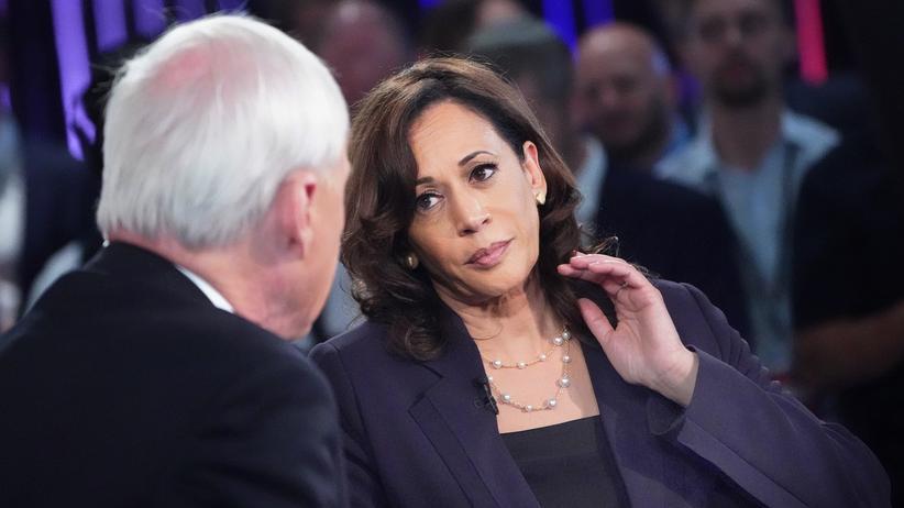 Wahlkampf der Demokraten: Kamala Harris beim Interview nach der zweiten Fernsehdebatte der demokratischen Kandidaten