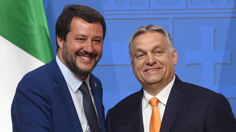 EU-Kommissionsvorsitz: Der italienische Innenminister Matteo Salvini und der ungarische Ministerpräsident Victor Orban bei einem Treffen in Budapest am 2. Mai
