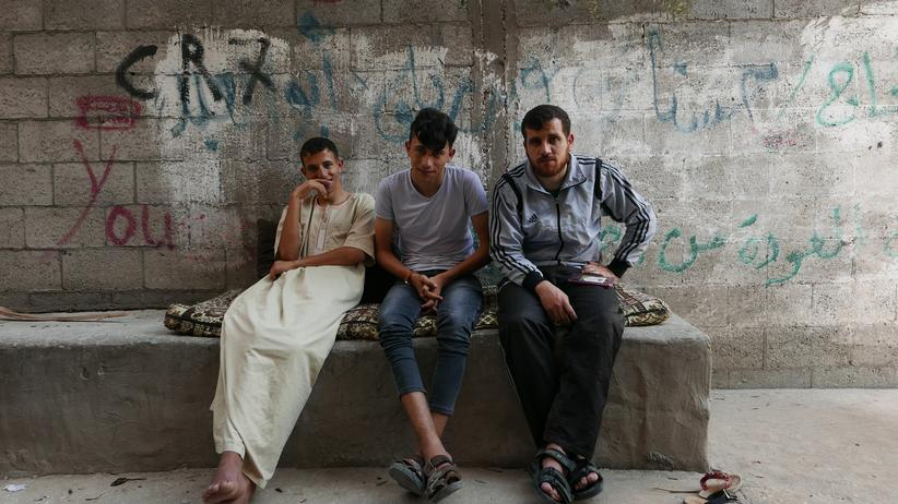Gaza strip: Three of Hassanat's sons: Mahmoud, Mustafa and Yousef (from left to right)
