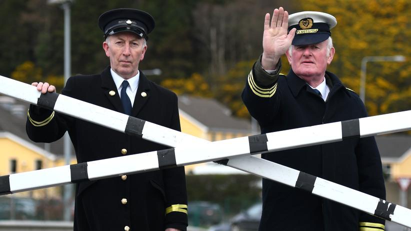 Brexit: Als Zollbeamte verkleidete Anti-Brexit-Protestler in Carrickcarnon an der Grenze Irlands und Nordirlands (März 2019)
