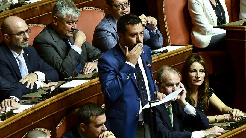 Italien: Matteo Salvini während seiner Rede im Senat