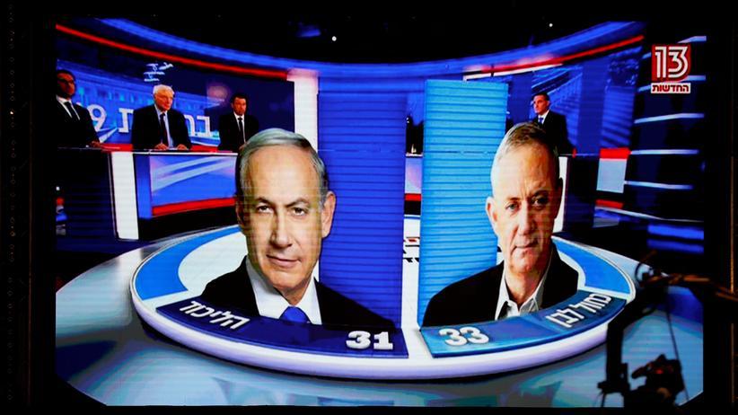 Israel-Wahl: Benjamin Netanjahu und Benny Gantz nahezu gleichauf