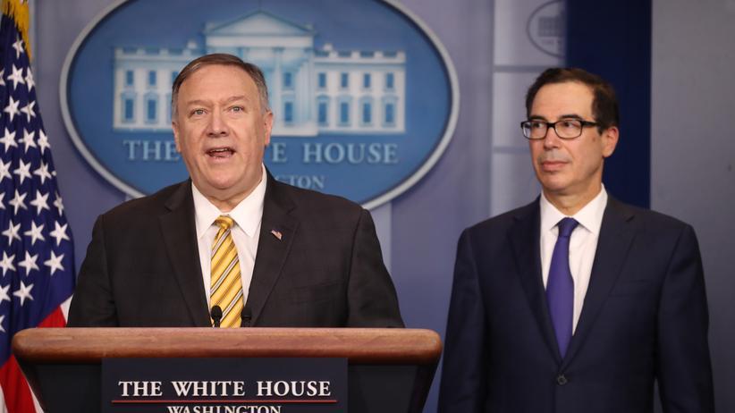 Iran: US-Außenminister Mike Pompeo (l.) während der gemeinsamen Pressekonferenz mit Finanzminister Steven Mnuchin im Weißen Haus