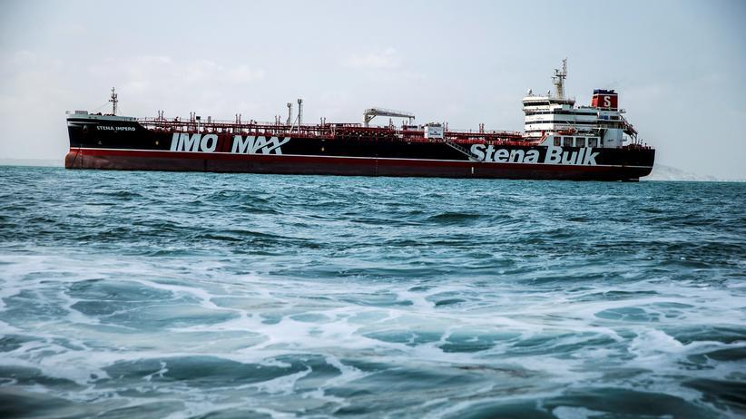 """""""Stena Impero"""": Die """"Stena Impero"""" beim Verlassen des Hafens von Bandar Abbas, wo sie fast zwei Monate festgehalten wurde"""