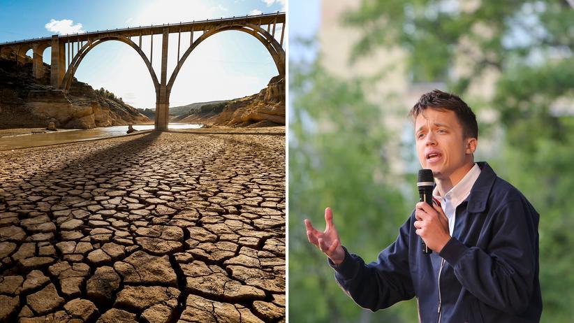 Íñigo Errejón: In Spanien kommt es immer häufiger zu Überflutungen und Dürren, wie hier am Fluss Tajo. Der Politiker Íñigo Errejón (rechts) will das Land grüner machen.