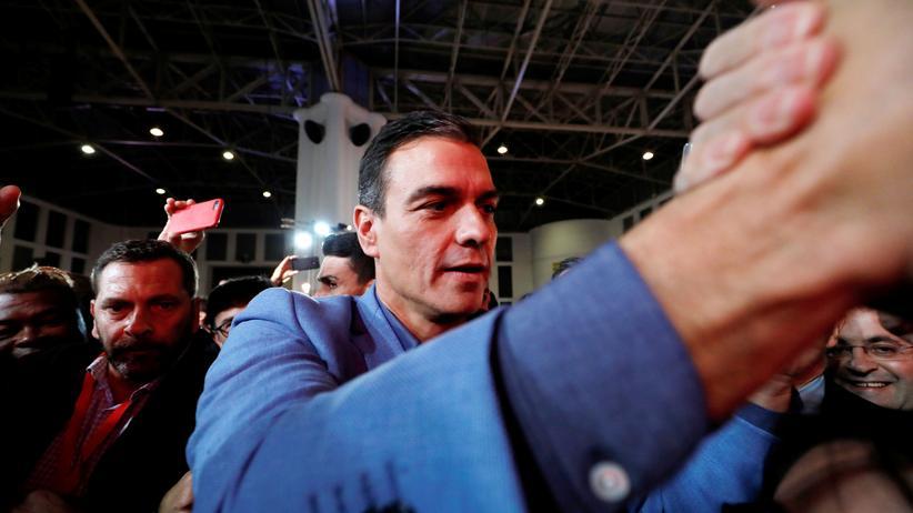 Pedro Sánchez: Pedro Sánchez von der Sozialistischen Arbeiterpartei (PSOE) während eines Wahlkampftermins in Barcelona.