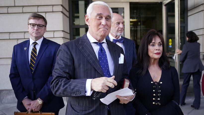 Russland-Affäre: Roger Stone nach dem Schuldspruch in Washington. Ihm drohen bis zu 20 Jahre Gefängnis.