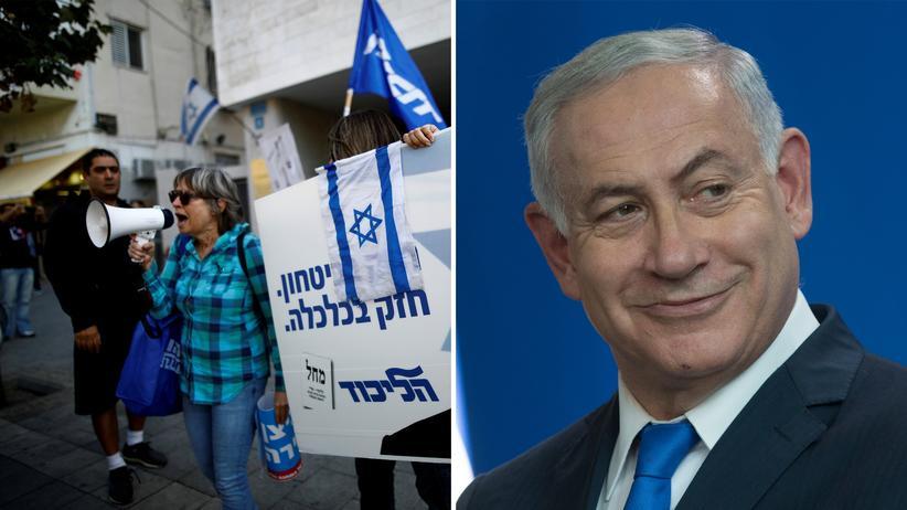 Benjamin Netanjahu: Anhänger von Benjamin Netanjahu vor der Zentrale der Likud-Partei in Tel Aviv (links), Israels Premierminister Netanjahu in Berlin (rechts)