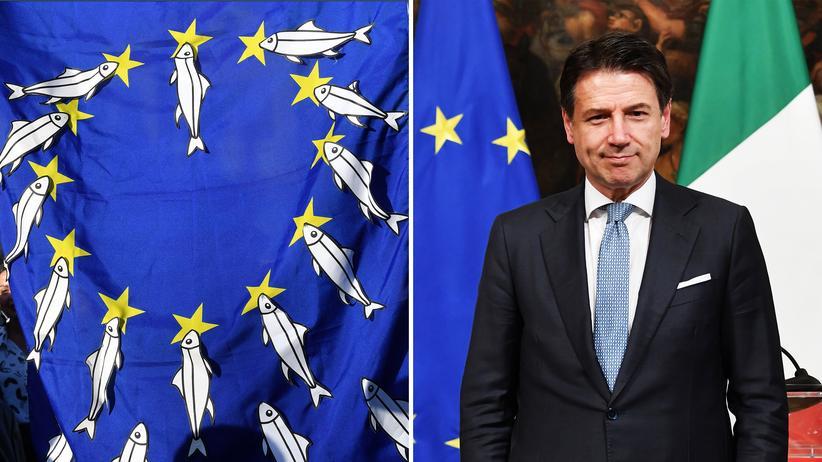 Italien: Eine Flagge mit Sardinen, dem Symbol einer neuen politisschen Bewegung in Italien, und Premierminister Giuseppe Conte.
