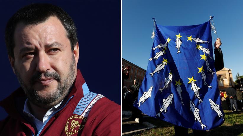 Sardinen: Links: Lega-Chef Matteo Salvini, rechts: Protestierende der Sardinen-Bewegung