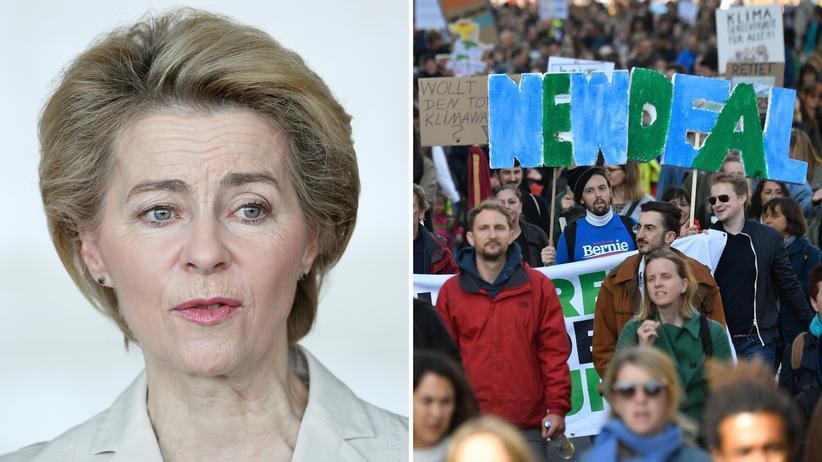 EU Green Deal: EU-Kommissionspräsidentin Ursula von der Leyen während ihres Antrittsbesuchs in Addis Abeba, der Hauptstadt Äthiopiens – Protestierende fordern einen Green New Deal, aufgenommen bei der großen Klimademo in Berlin am 20. September.