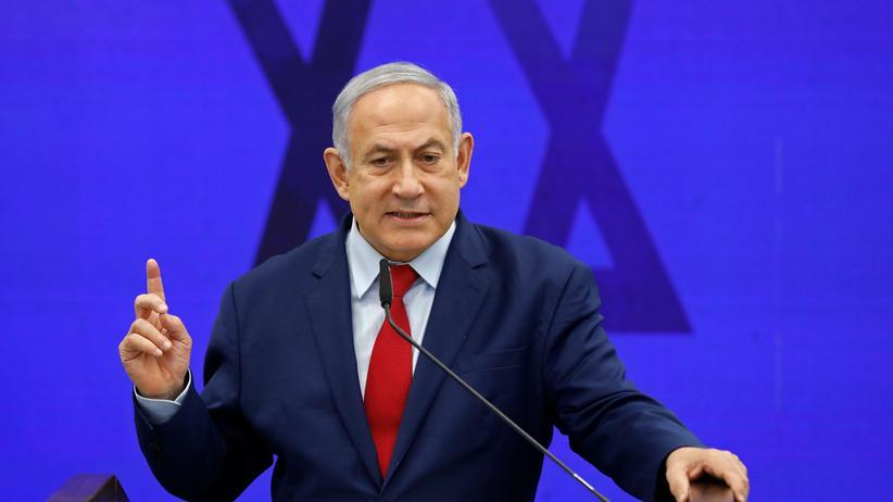 Naher Osten: Israels Premierminister Benjamin Netanjahu bei einer Rede in Ramat Gan. Der Regierungschef blickt dem Nahostfriedensplan der USA hoffnungsvoll entgegen.