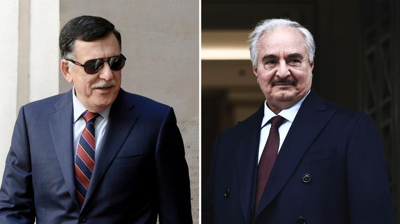 Libyen: Fajis al-Sarradsch (links) und General Chalifa Haftar