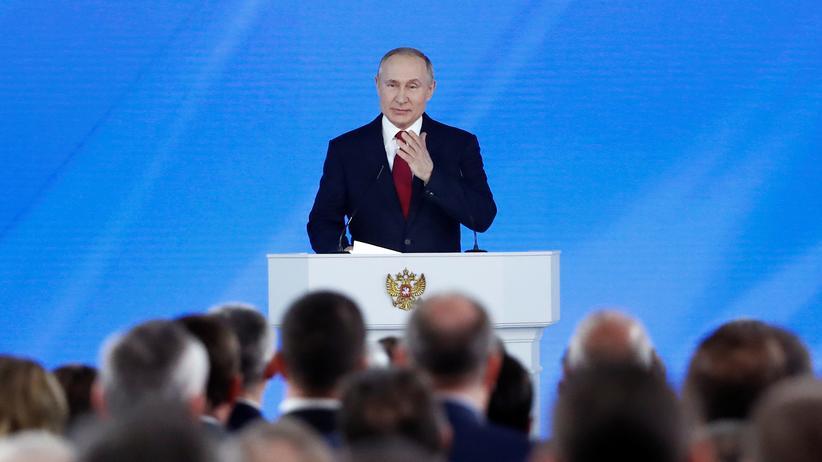 Rede an die Nation: Der russische Präsident Wladimir Putin bei seiner Rede an die Nation vor der Föderalen Versammlung in Moskau