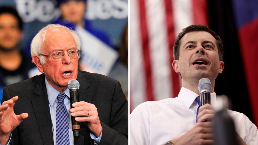 Vorwahl in New Hampshire: Bernie Sanders (l.) in Keene, Pete Buttigieg in Salem, beides New Hampshire