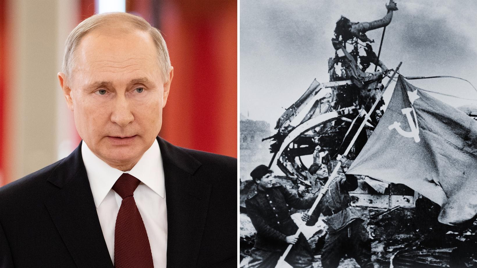 Überfall auf die Sowjetunion: Wladimir Putin; russische Soldaten hissen die sowjetische Flagge am Brandenburger Tor am 2. Mai 1945
