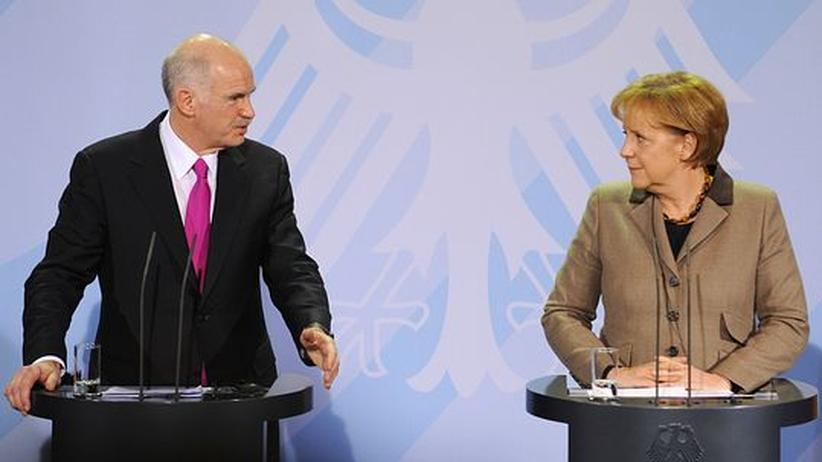 Kanzlerin Merkel und Griechenlands Premier George Papandreou