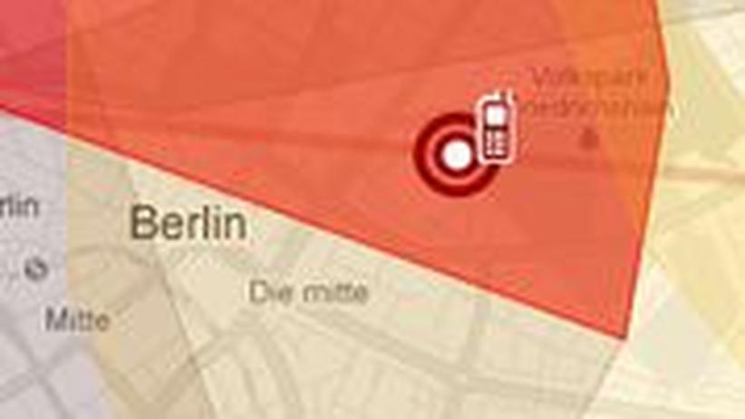 Bewegungsprofil von Malte Spitz, basierend auf den Vorratsdaten seines Handys