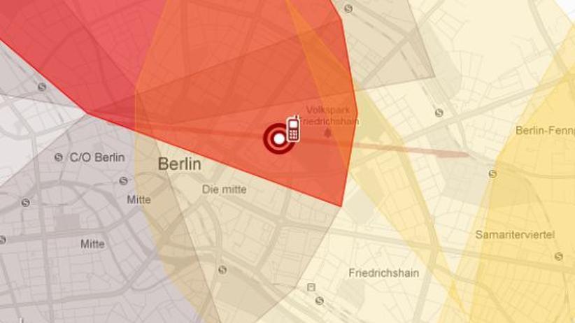 Bewegungsprofil von Malte Spitz, basierend auf den Vorratsdaten seines Handys. Klicken Sie auf das Bild, um die Grafik zu öffnen.