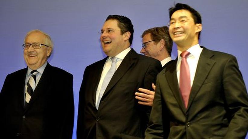 Parteien: Männerverein FDP? Fraktionschef Rainer Brüderle, Generalsekretär Patrick Döring, Außenminister Guido Westerwelle und Parteichef Philipp Rösler (von links)