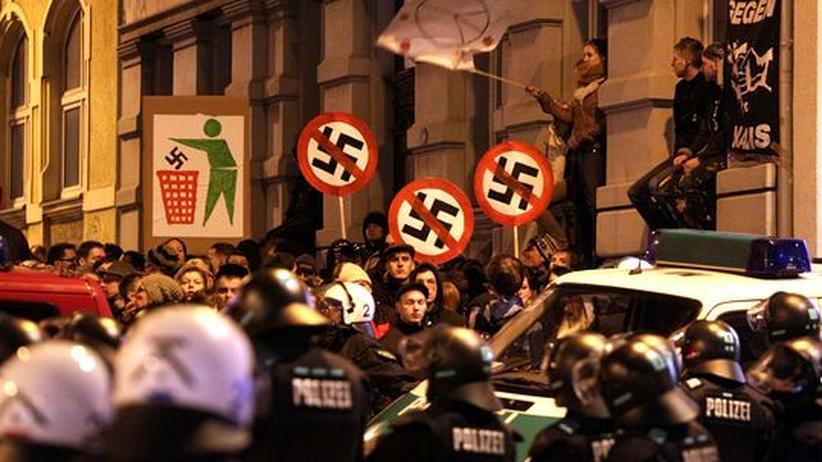 Demonstration gegen einen Neonazi-Aufmarsch in Chemnitz