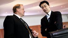Parteifreunde: Entwicklungsminister Dirk Niebel (links) und FDP-Chef Philipp Rösler unterhalten sich auf einer Kabinettssitzung.