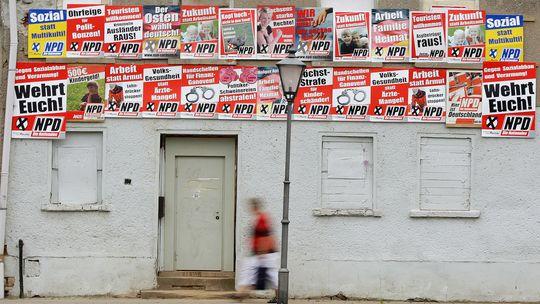 NPD-Wahlwerbung in Zwenkau, Sachsen