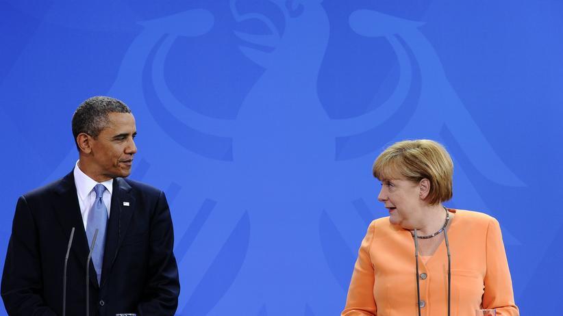 Obama in Berlin: US-Präsident Barack Obama und Bundeskanzlerin Angela Merkel nach ihrem Gespräch