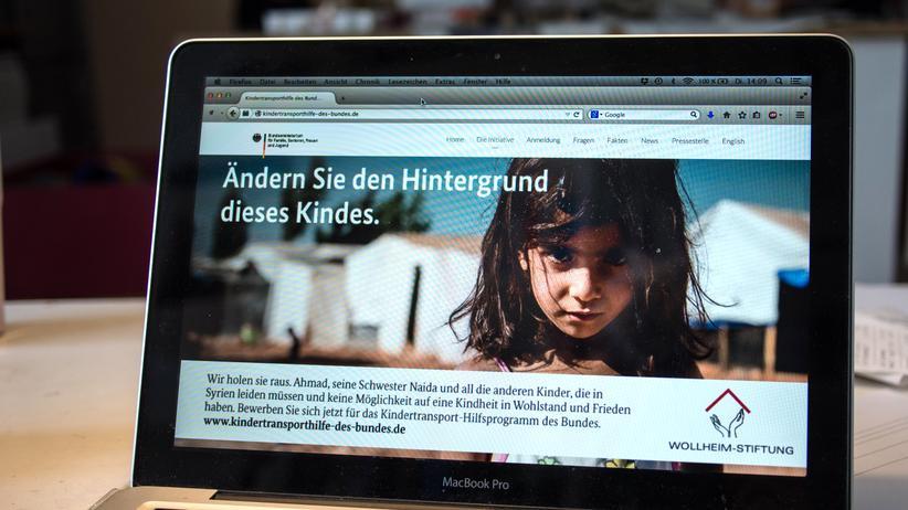 Kunstprojekt: Ein Ausschnitt der Homepage der fingierten Hilfsaktion