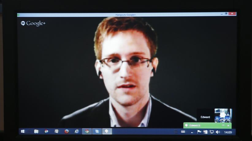 Spähaffäre: Edward Snowden bei seiner Video-Befragung durch Mitglieder des Europarats in Straßburg am 8. April