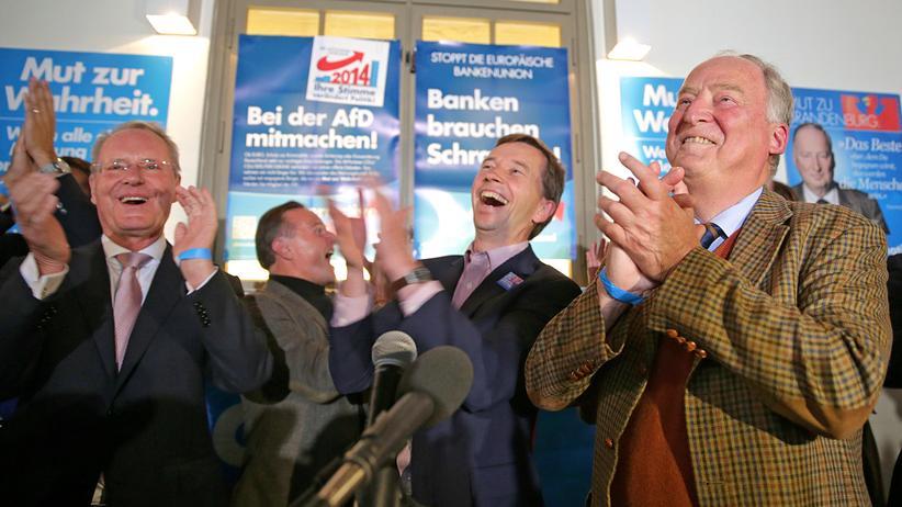 Alternative für Deutschland: Bernd Lucke (mitte), Alexander Gauland (rechts) und Hans-Olaf Henkel (links) feiern das Wahlergebnis der AfD in Potsdam.