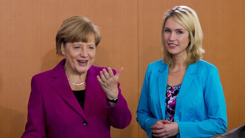 Koalitionsausschuss: Bundeskanzlerin Angela Merkel und SPD-Familienministerin Manuela Schwesig