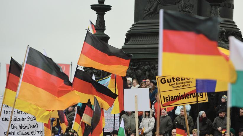 Flüchtlinge: Pegida-Anhänger bei einer Demonstration im Januar in Dresden.