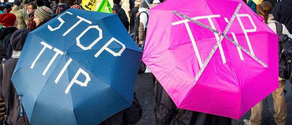 Demonstration gegen das Freihandelsabkommen TTIP