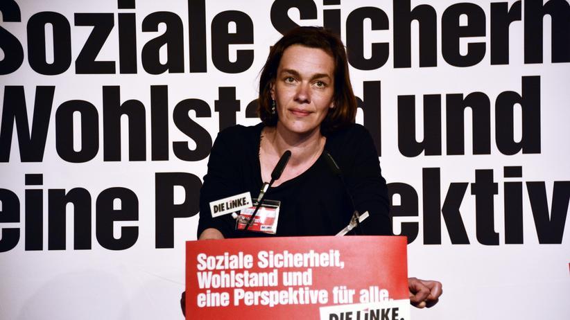 Juliane Nagel: Juliane Nagel auf einer Parteiveranstaltung in Leipzig
