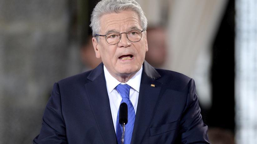 Bundespräsident Joachim Gauck während seiner Rede bei der Verleihung des Karlspreises in Aachen
