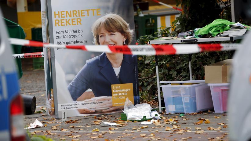 Wahlplakat am Tatort in Köln