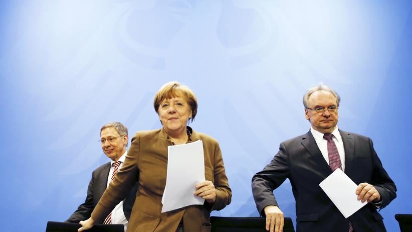 Asylpaket II: Bundeskanzlerin Angela Merkel, Bremens Bürgermeister Carsten Sieling und Reiner Haseloff, Ministerpräsident von Sachsen-Anhalt