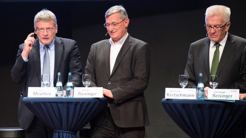 Die Spitzenkandidaten der Landtagswahl in Baden-Württemberg, Meuthen (AfD), Riexinger (Linke) und Kretschmann (Grüne)